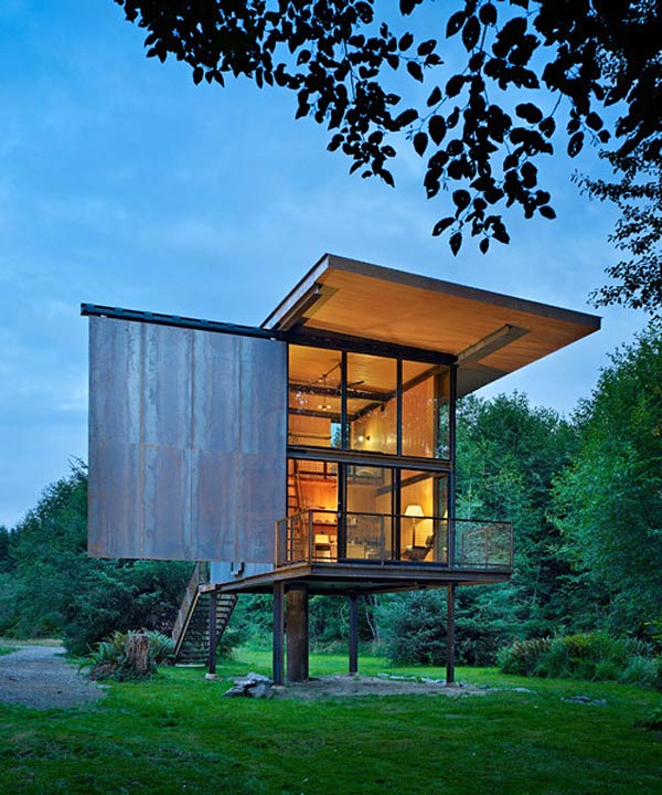 Loft House Design: Steel Cabin Design In The Woods