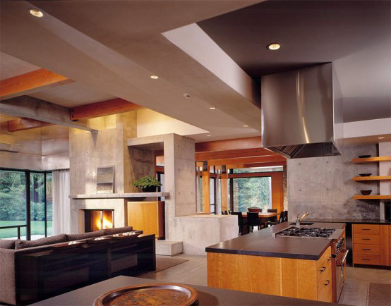 stone house modern and earthy design 2 Concrete Home Construction With Wood Elements