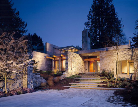 stone house modern and earthy design 7