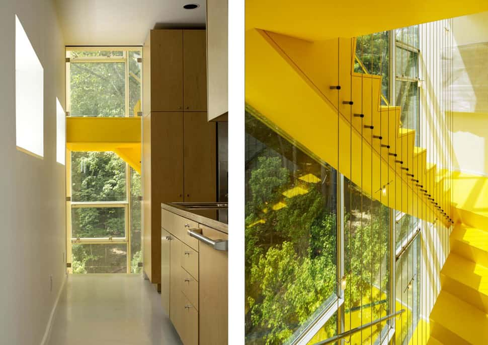 Tower Modern Staircase : Tower house accessed by luminous staircase