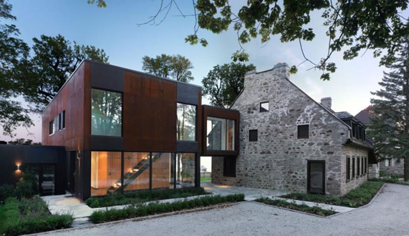 View In Gallery Traditional Stone Farmhouse Extended With Glass And Steel Addition 1 Thumb 630x363 15593