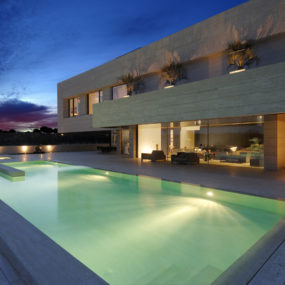 Amazing Travertine House by A-Cero Architecture Firm with water features