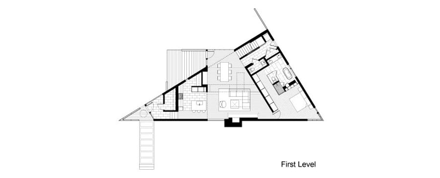 Triangular house with bridge to office loft overhead for Triangular house floor plans