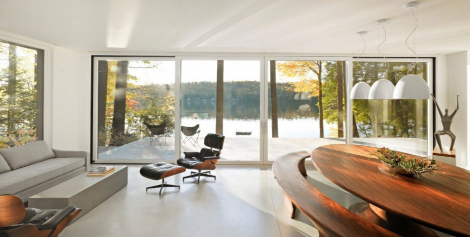 Two part cantilevered lake house - encore!