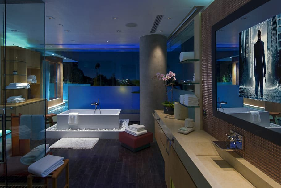 View In Gallery Ultimate Party House With Multi Colored Lighting And The Master Bathroom