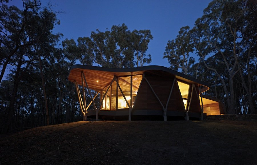 Good View In Gallery Ultramodern Reinvention Traditional Woodland Cabin With Timber  Structure 2 Night Angle Thumb 630x405 23994 Ultramodern Reinvention Photo