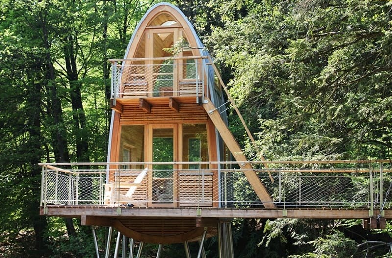 High Quality Unusual Forest Cabin On Stilts Over Pond