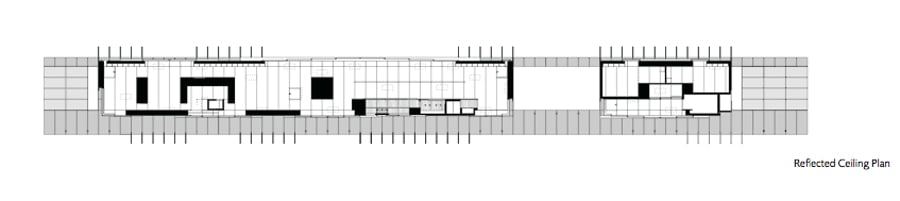 Unusual linear house with open breezeway and luminous ceiling for Linear architecture design