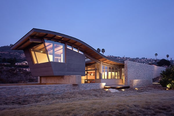 unusual roof design beach house 10jpg