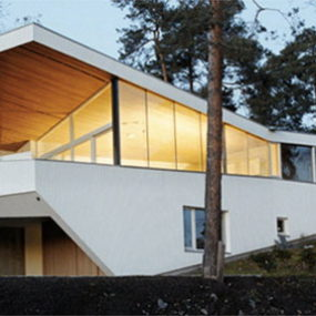 Norway Ultra-Modern, Geometric White House in the Woods of Strand