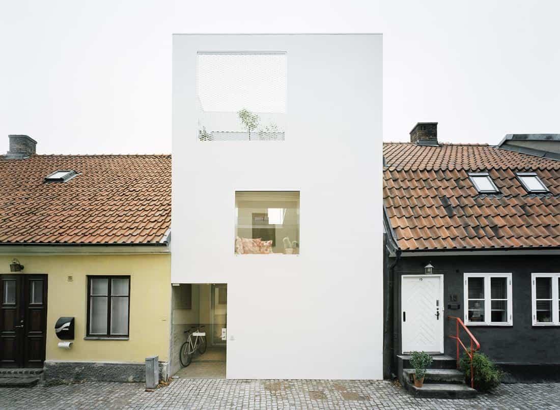 Architect Elding Oscarson Adds a Vibrant White Townhouse to a Sleepy Swedish Street