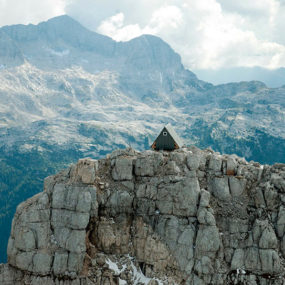 Wooden A-Frame Cabin Crowns Alpine Mountaintop