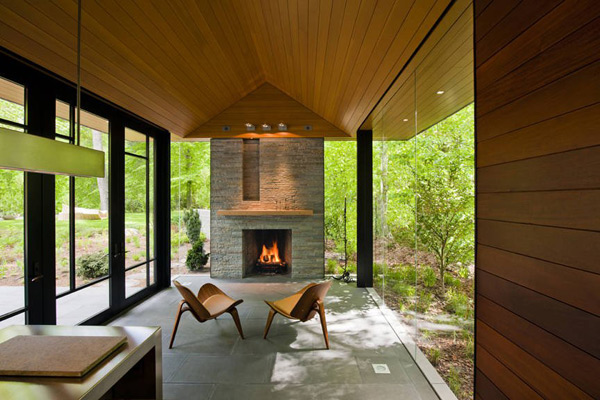 View in gallery zen style pavilion house with glass walls organic interiors  2 Pavilion Style House with glass walls