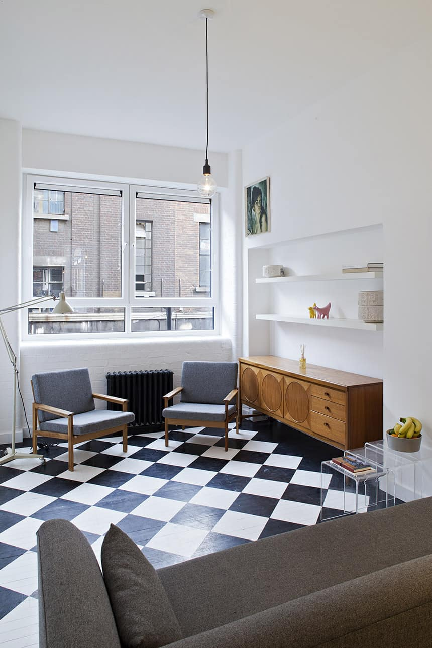 New Vintage Style City Apartment with Checker Flooring