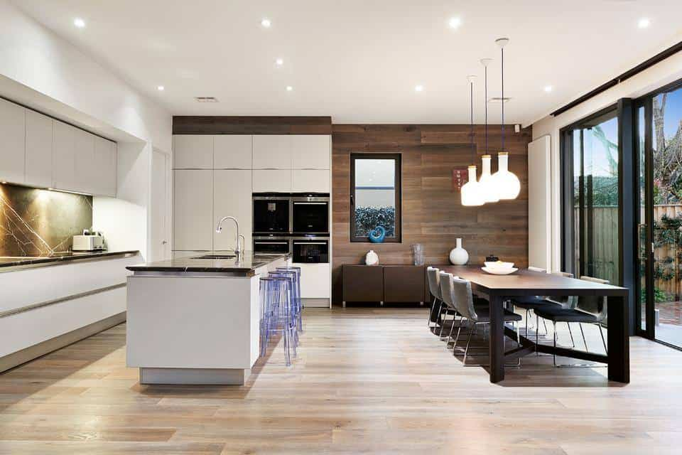 Ideal kitchen dining and living space combination idea for Open plan kitchen ideas for small spaces