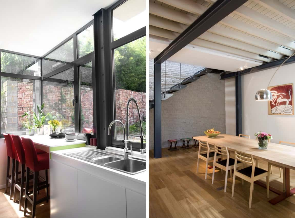Exposed Brick And Steel Create Backdrop For Contemporary