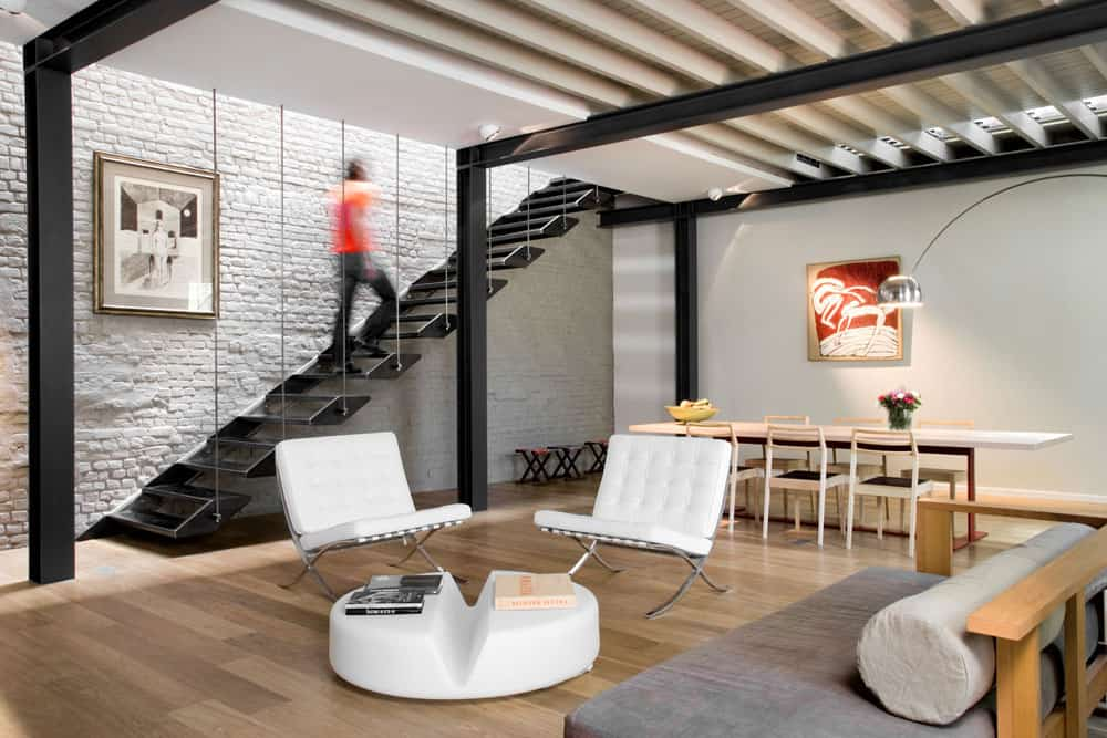 View in gallery exposed brick steel create backdrop contemporary residence 6 The dining