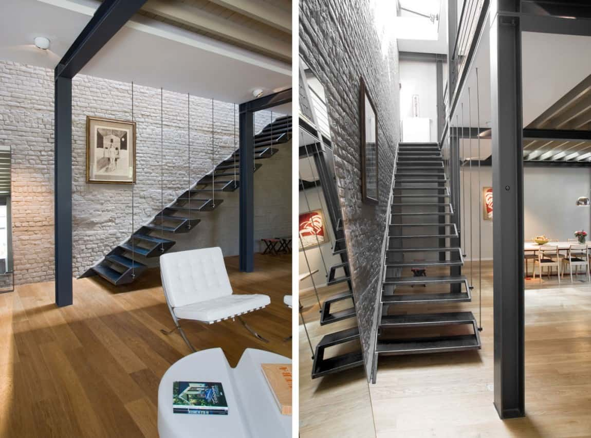 View in gallery exposed brick steel create backdrop contemporary residence 7