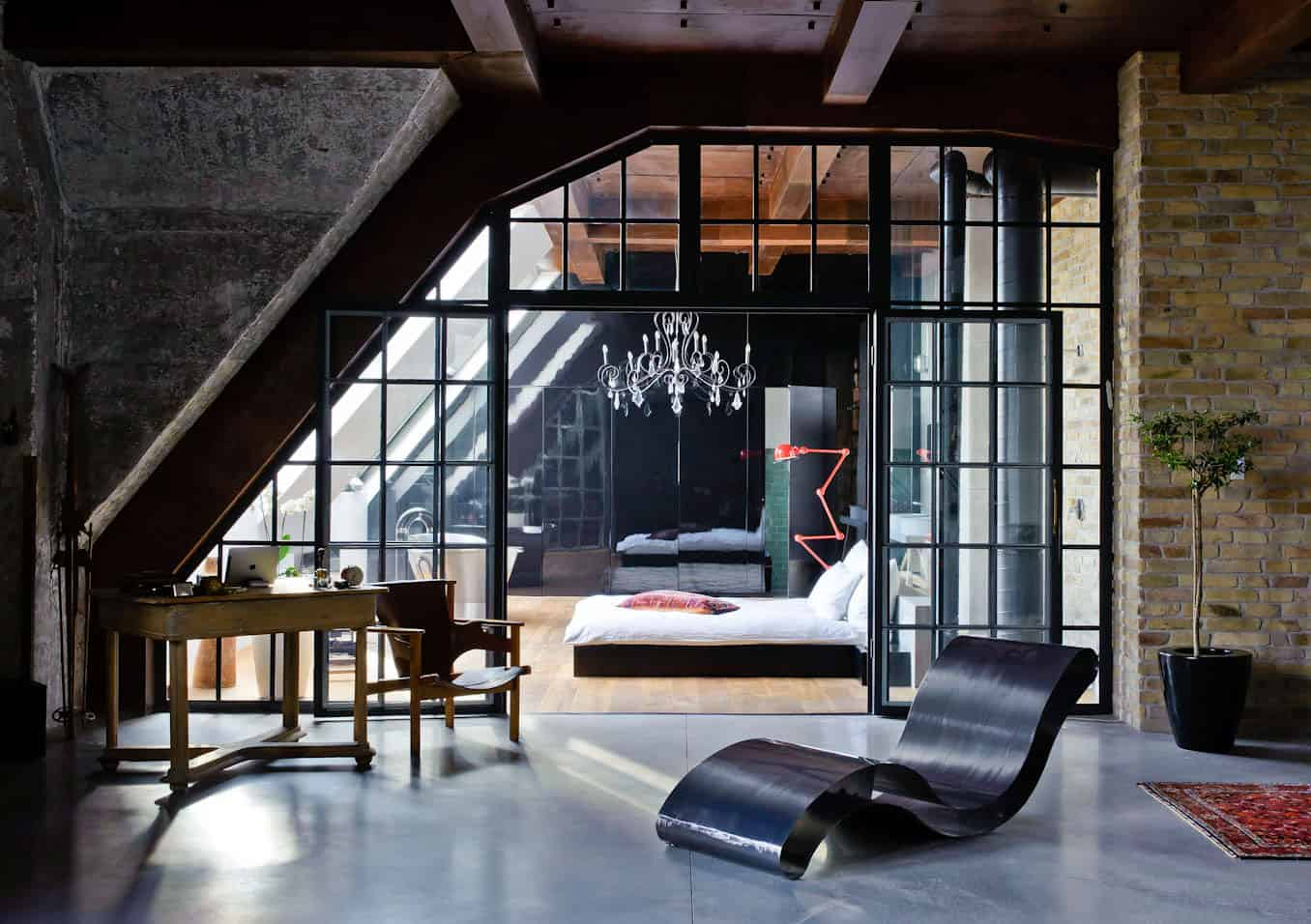 Eclectic loft apartment in budapest by shay sabag for Bedroom door ideas loft apartment