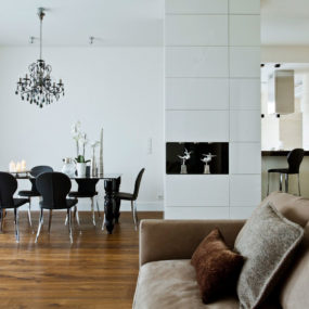 Contrasting Neutrals Create Exciting Drama in Apartment