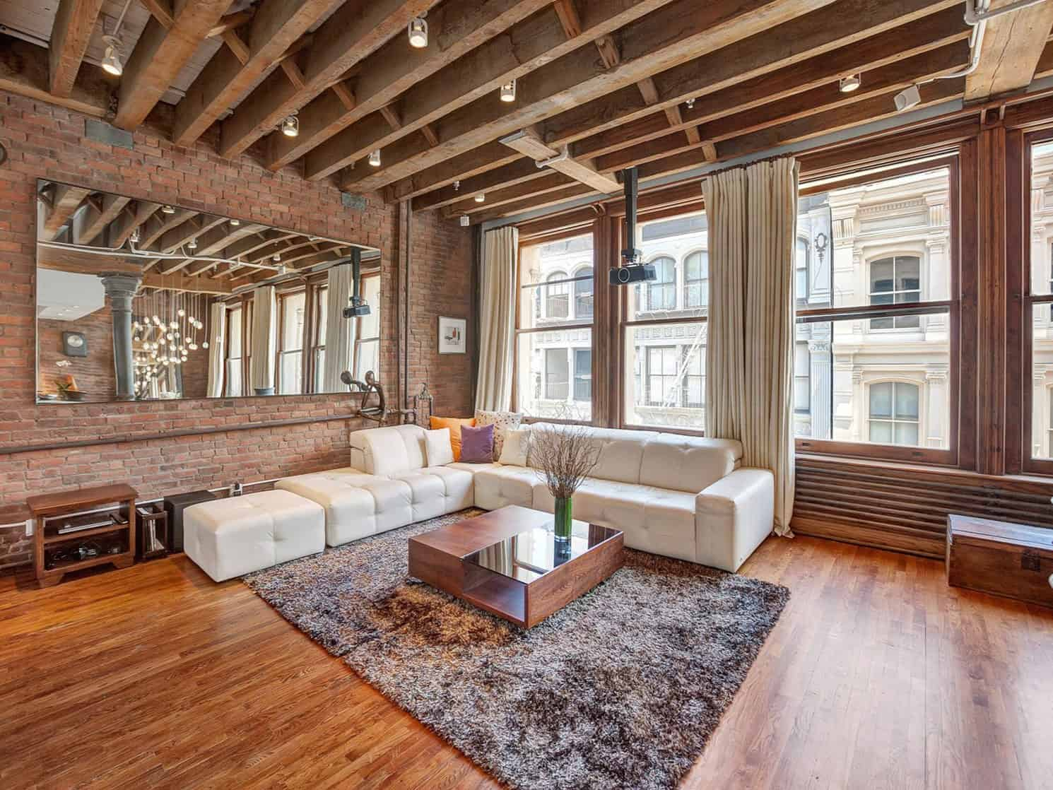 View In Gallery Open Plan Apartment Exposed Beams Iron Columns 6