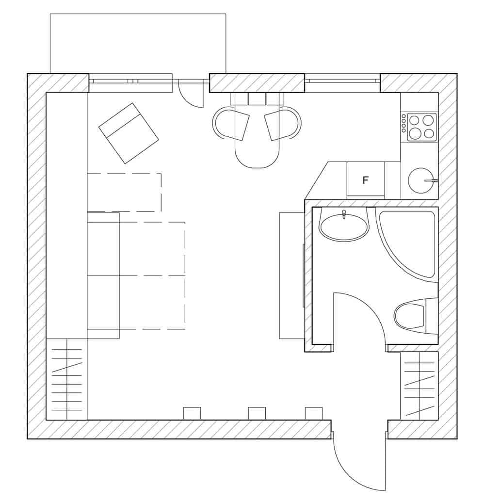 View In Gallery Teeny Tiny Apartment Designed Bright Spacious  15 Plan.