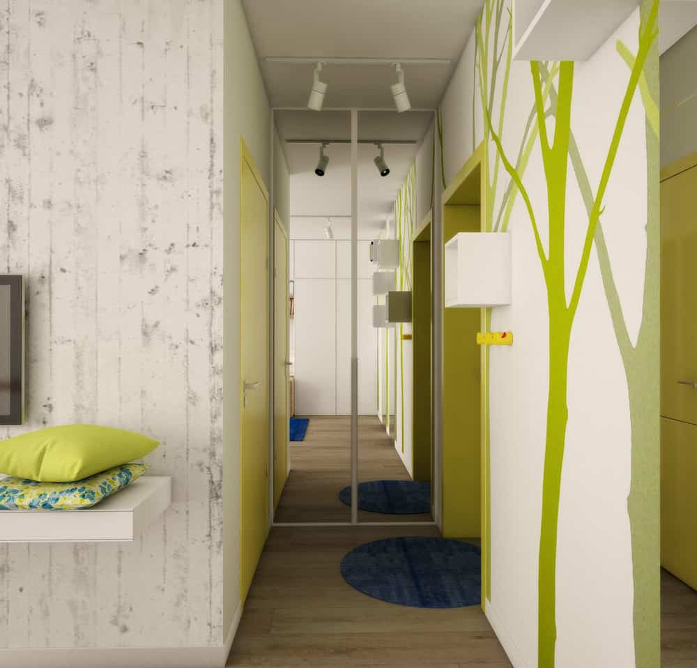 Teeny tiny apartment cleverly designed to feel bright and for Apartment foyer ideas