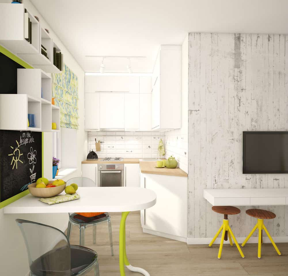 View In Gallery Teeny Tiny Apartment Designed Bright Spacious 4 Kitchen.