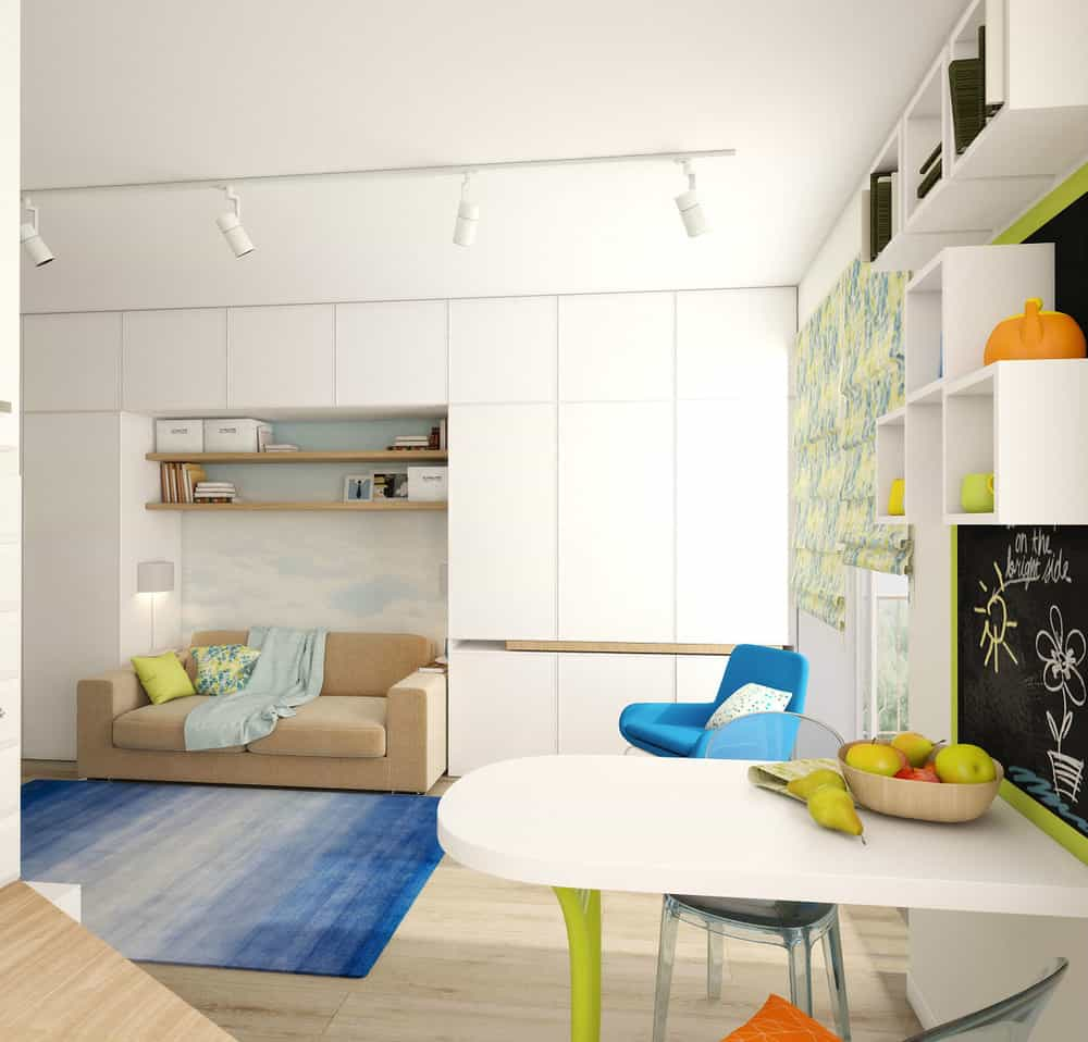 View In Gallery Teeny Tiny Apartment Designed Bright Spacious 9 Living.