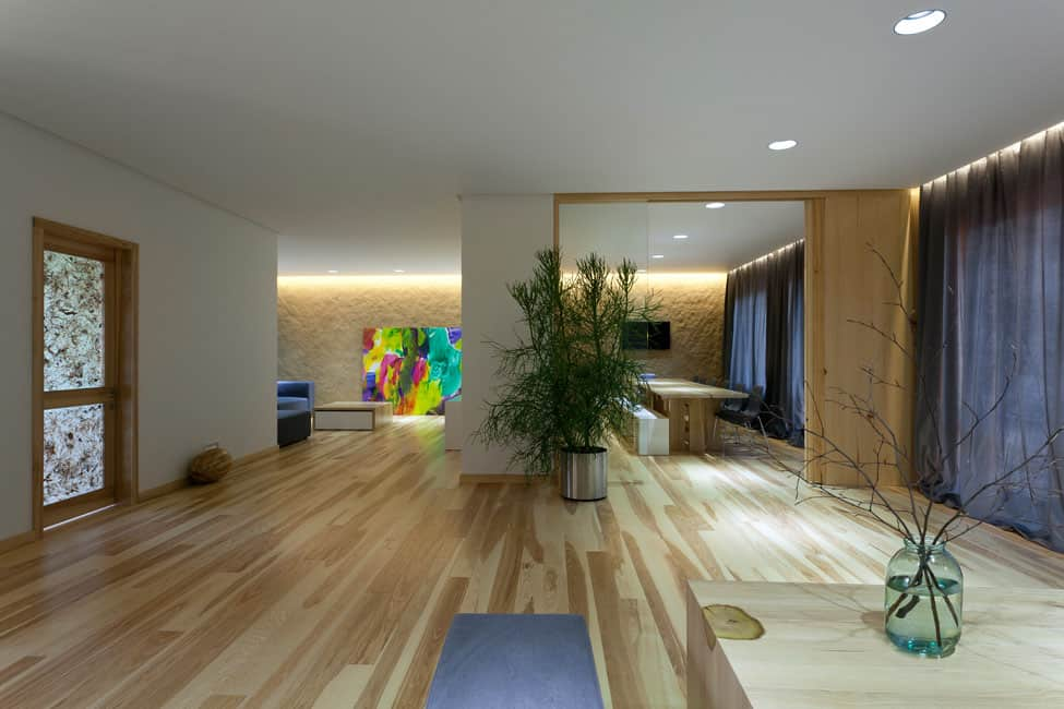 Pale Wood and Bright Color Combination Showcased by Ryntovt Design