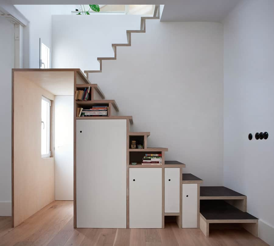 space saving stair storage design in plywood. Black Bedroom Furniture Sets. Home Design Ideas