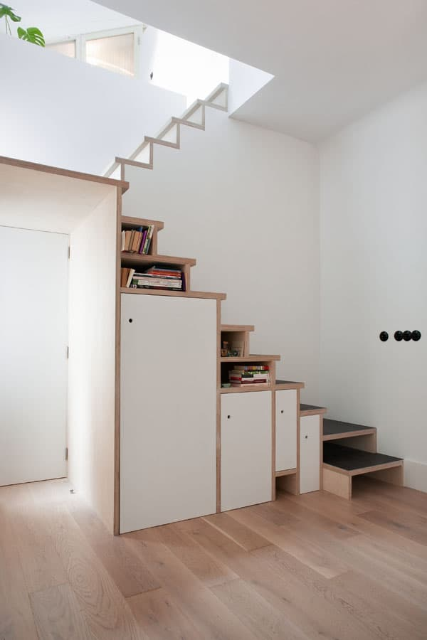 attic style bedroom ideas - Space Saving Stair Storage Design in Plywood