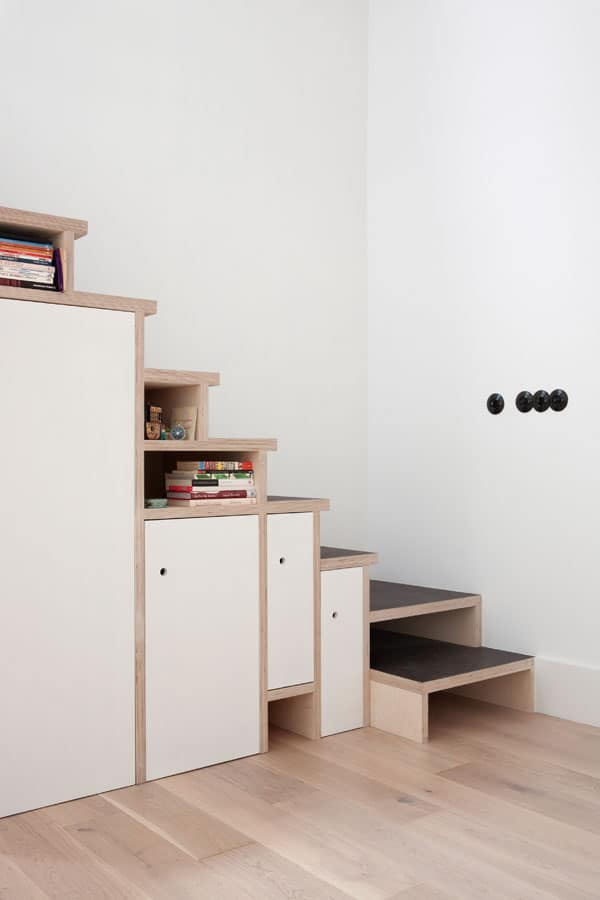 space saving stair storage design plywood 6
