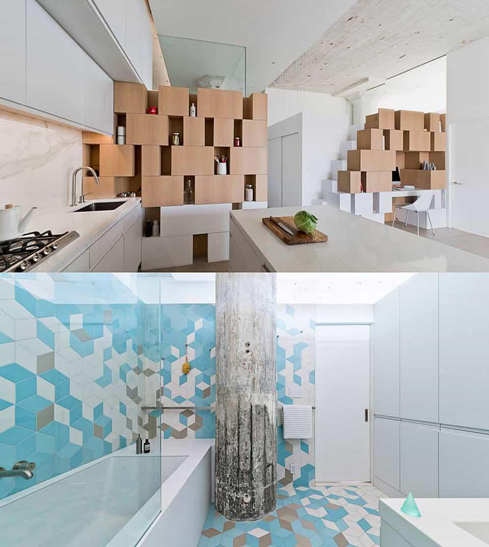 Creative Storage Wall incorporates Stairwell to New Mezzanine