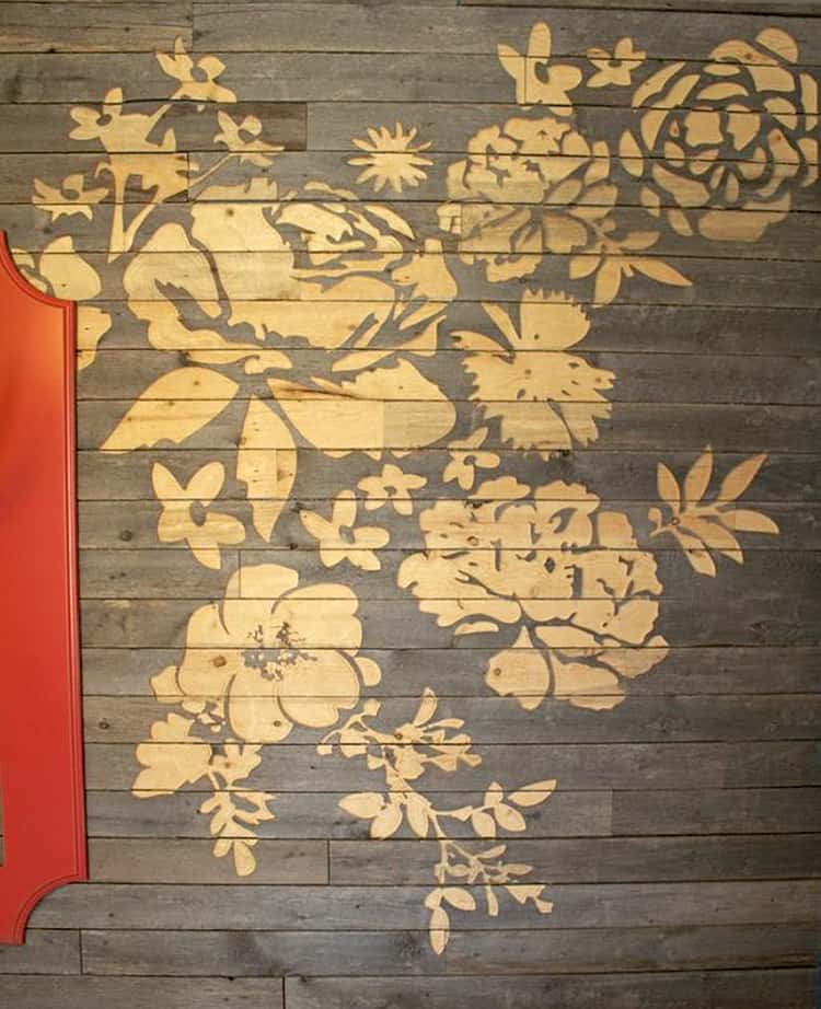 Floral wall art made with cnc engraved barn board Wall pictures