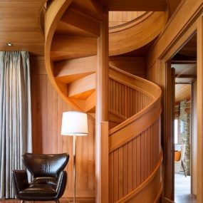 Flowing Spiral Wood Staircase is a Work of Art