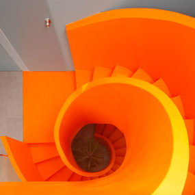 Contemporary Orange Staircase Makes Beautiful Statement