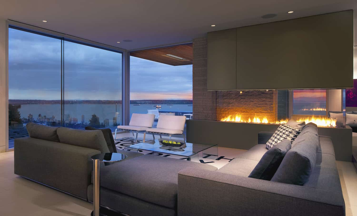 Living Room With A View Of The Ocean And Fire