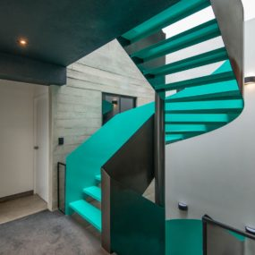 Painted Metal Staircase in Cyan