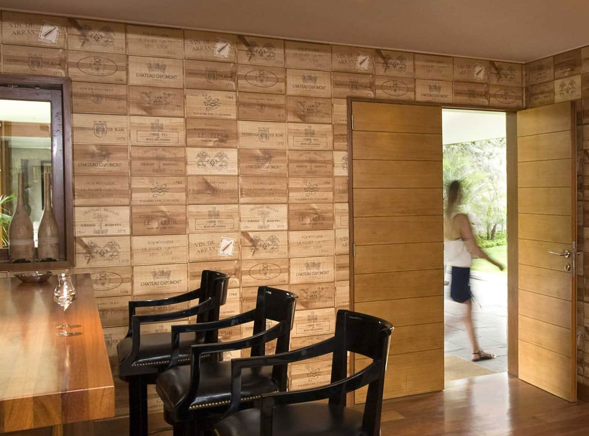 Bar walls decorated in wine crate panels this begs for a for How to build a wall bar