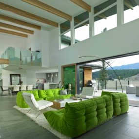 This Living Room in Green and White is so Uplifting