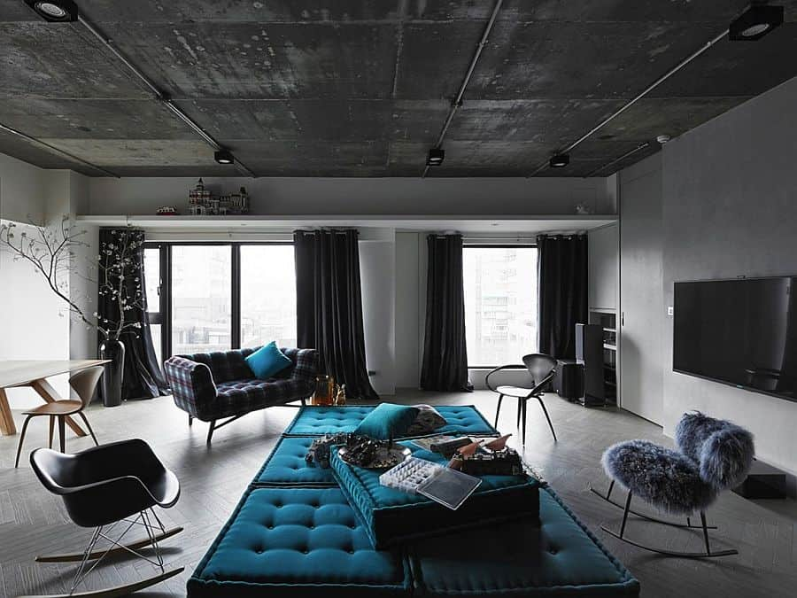 Black grey and blue living room filled with roche bobois - Grey and blue living room furniture ...