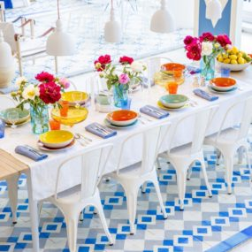 Blue and White Floor Tile Idea by Reclaimed Tile