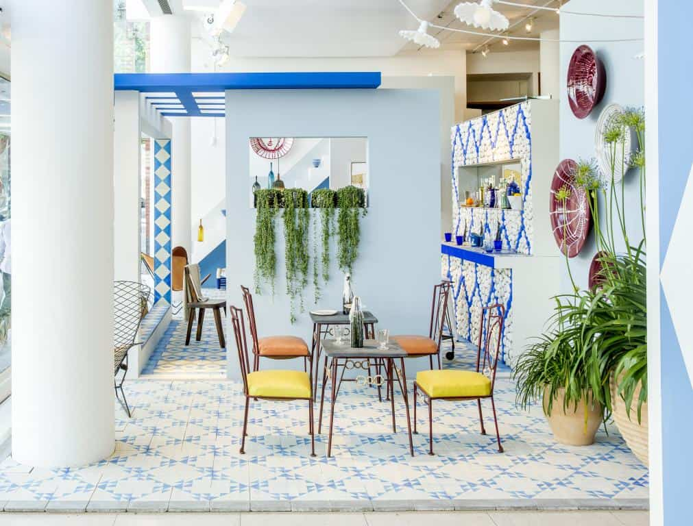 View In Gallery Blue And White Floor Tile Idea By Reclaimed