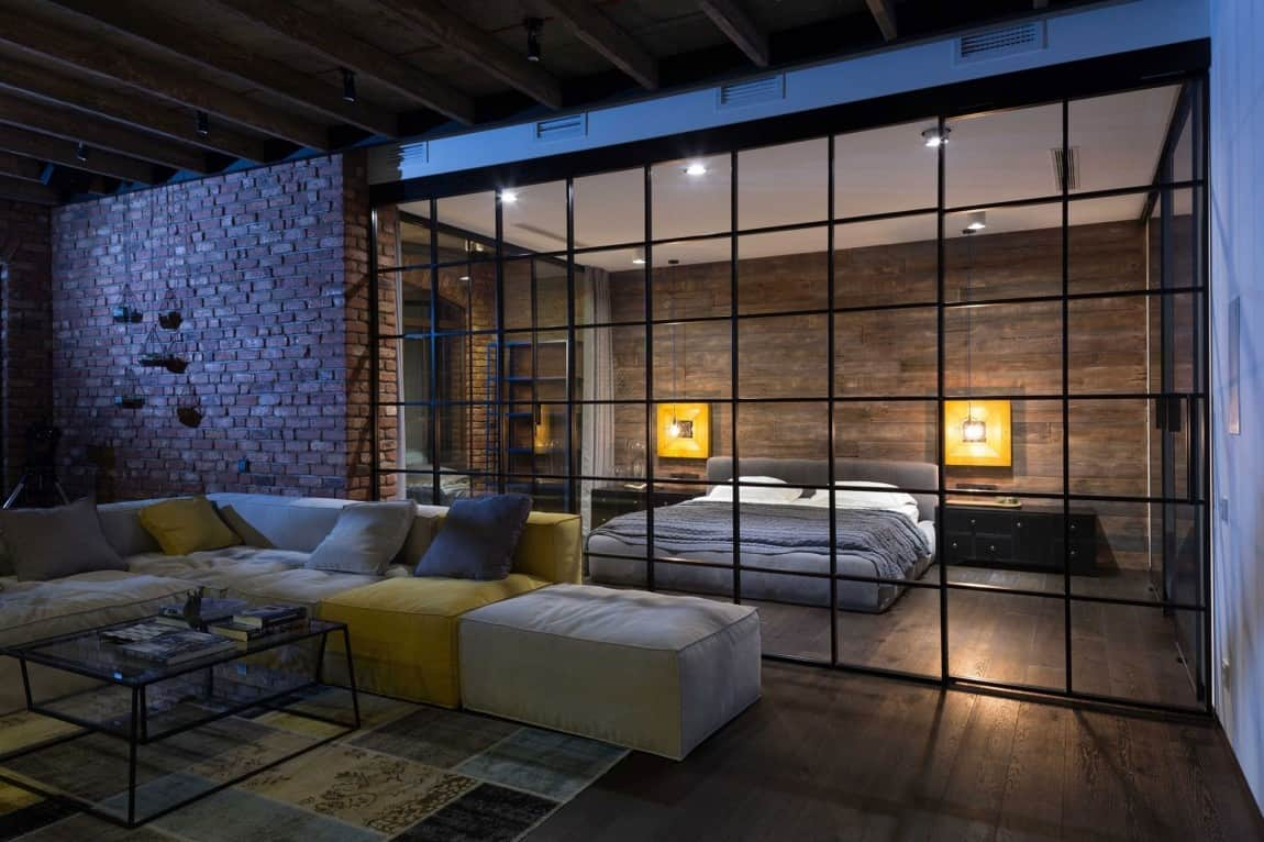 warehouse style loft with stunning visual appeal. Black Bedroom Furniture Sets. Home Design Ideas