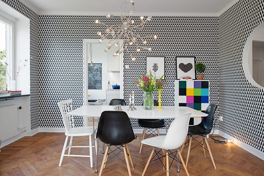 This Super Cute Dining Room In A Renovated 1930s Apartment Is Wrapped In An  Arne Jacobson Wallpaper Of Geometric Proportions. You Would Think That The  Paper ...
