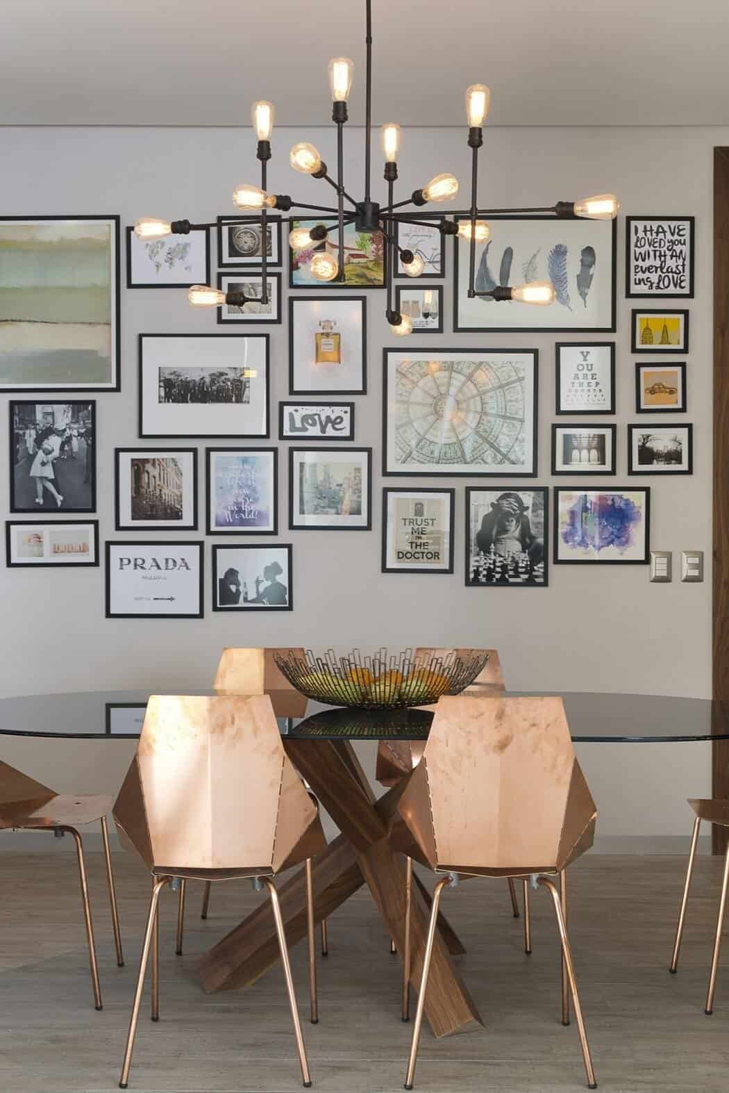 Copper Chairs And A Wall Of Black Framed Art Make This Dining Room By Kababie Architects Spectacular But Even Without These Two Elements The Criss Crossed