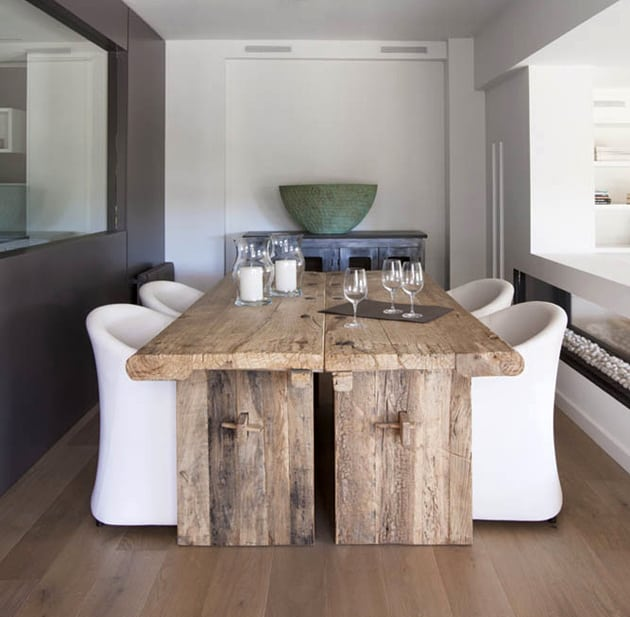Hereu0027s A Great Example Of Less Is More. That Slab Table Says It All! A  Susanna Cots Design, It Shows Just How Easily A Small Dining Room Can Speak  Volumes.