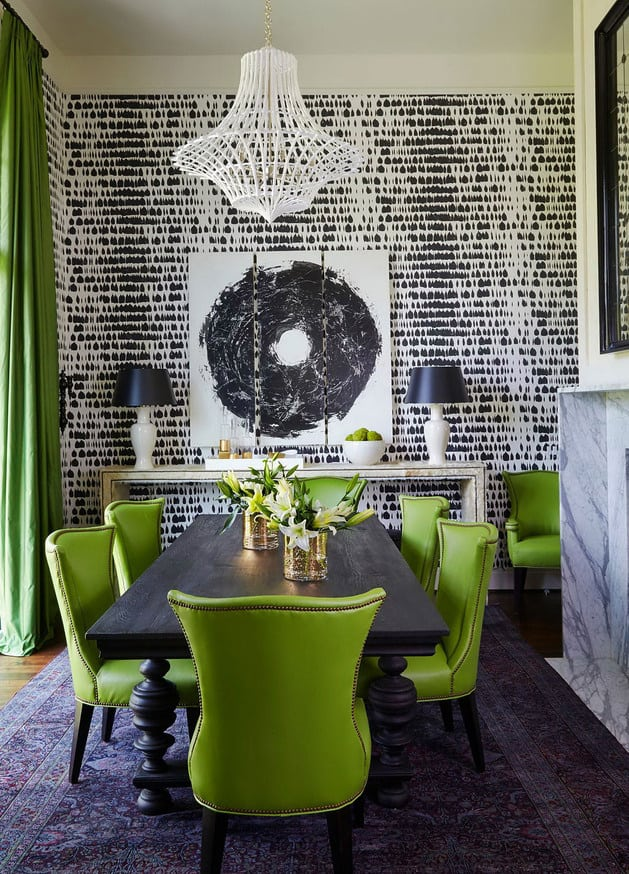 Between The Chunky Turned Legs Of This Dining Table Green Leather On Chairs Layers White Within Wallpaper Ceiling Pendant Lamps