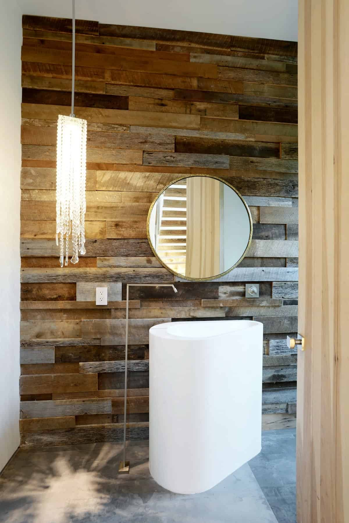 This Powder Room Is In The Same House And Makes Its Statement Via The Wall  Of Reclaimed Timber. You Would Think That Would Be Enough But Check Out The  ...